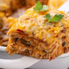 section of Mexican Lasagna on spatula