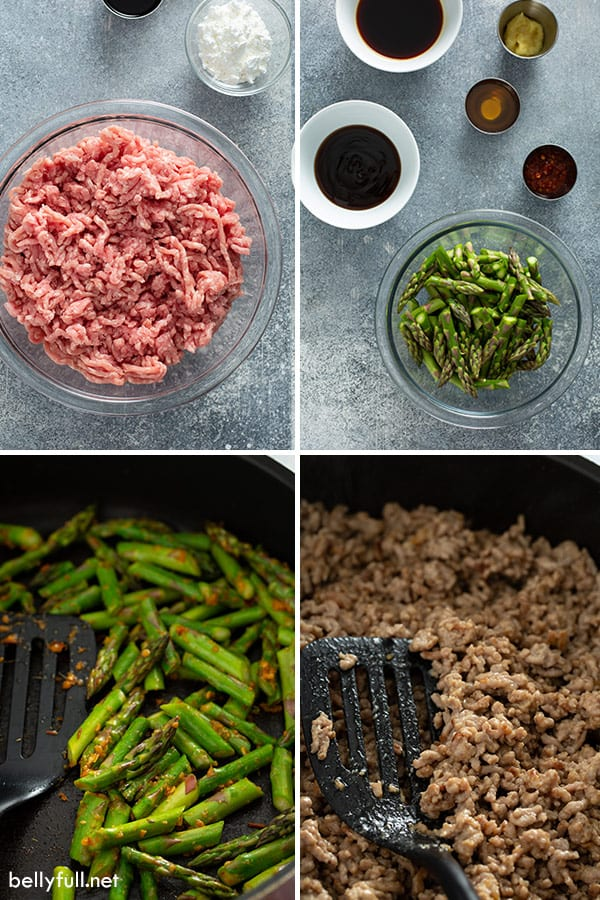 step by step photos for ground Pork Stir Fry