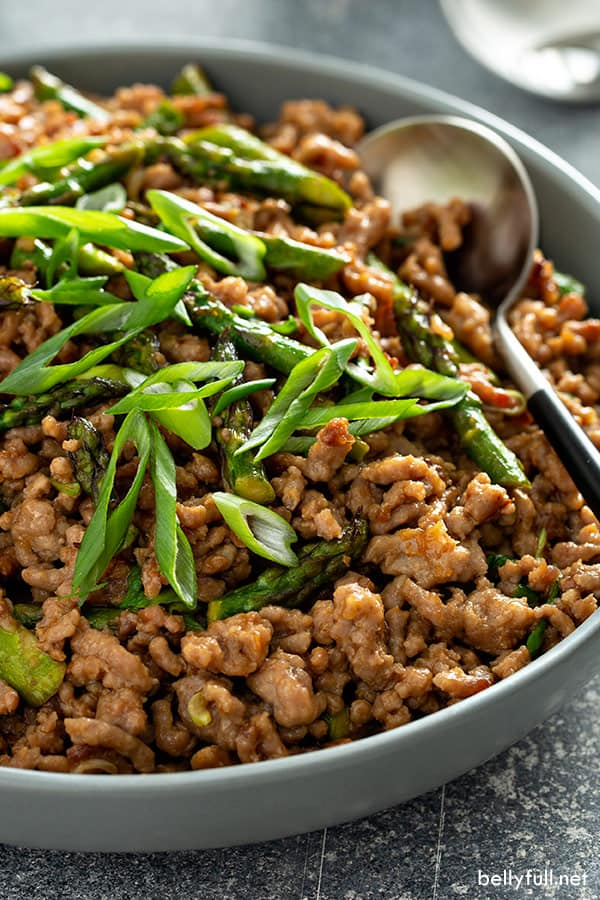 close up picture of ground Pork Stir Fry in serving bowl with spoon