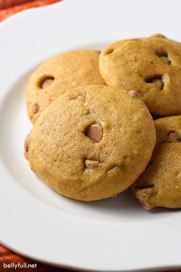 soft pumpkin cookies on white plate