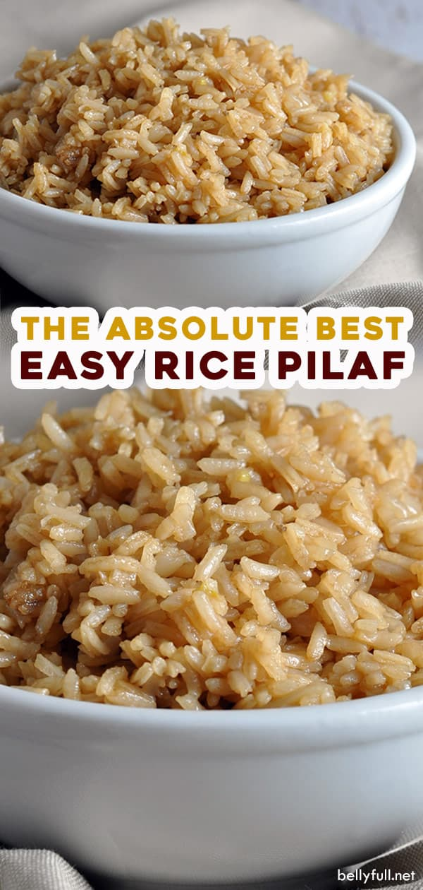 split 2 picture long pin for easy rice pilaf recipe
