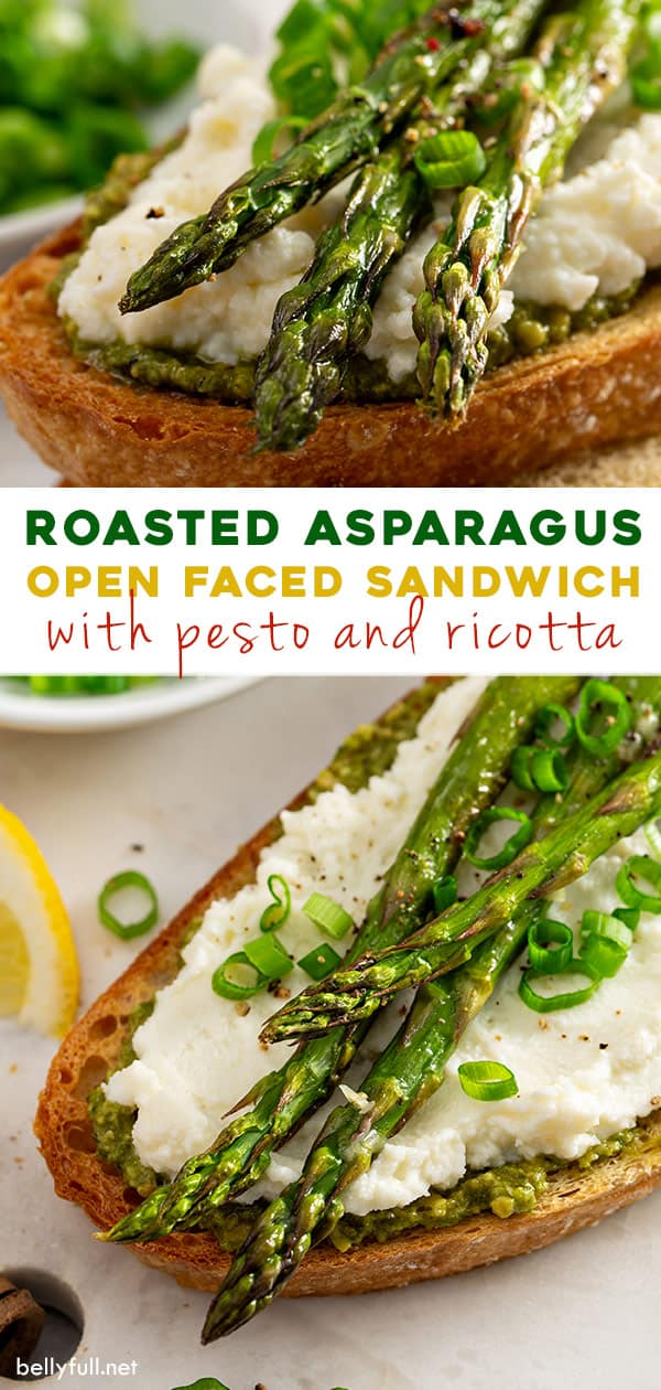 2 picture split long pin for roasted asparagus open faced sandwich