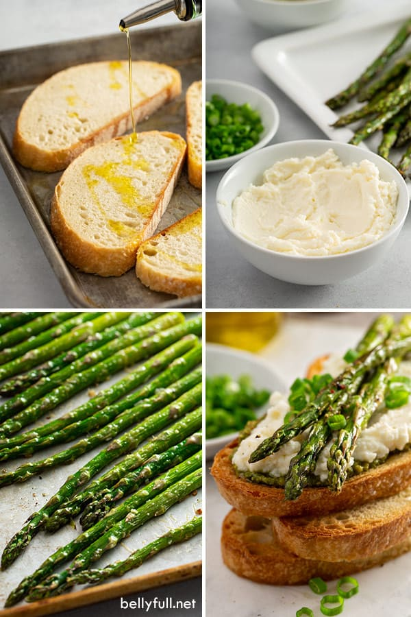 step by step process pictures of roasted asparagus open faced sandwich
