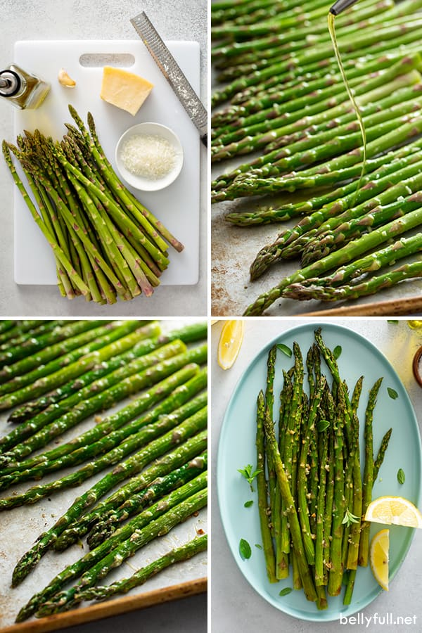 step by step process picture for oven roasted asparagus