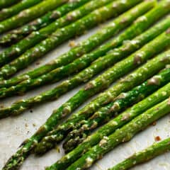 oven roasted asparagus on baking sheet