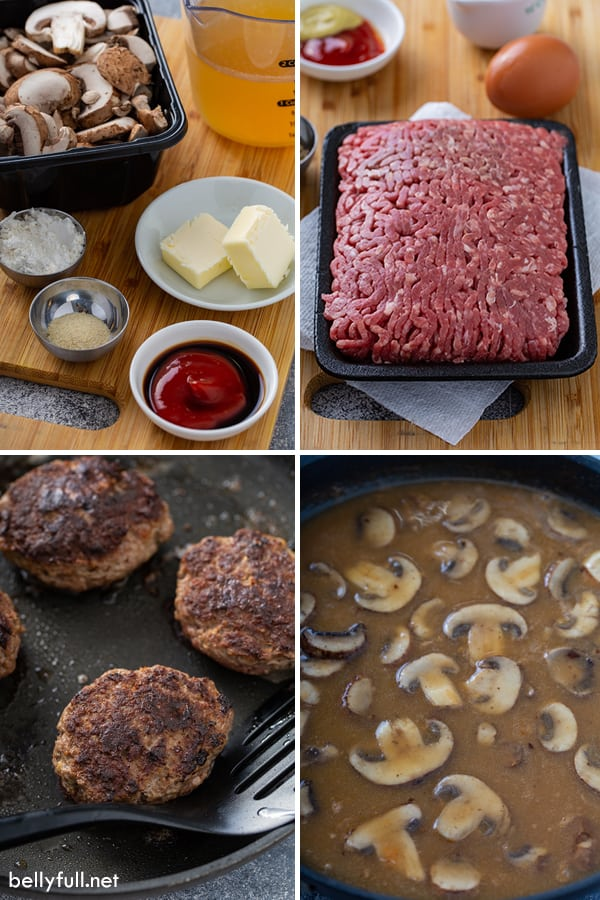 step by step process photos for Salisbury Steak