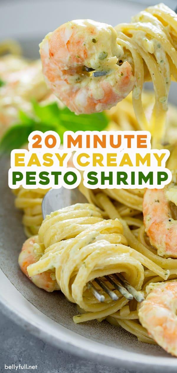 long pin for creamy pesto shrimp