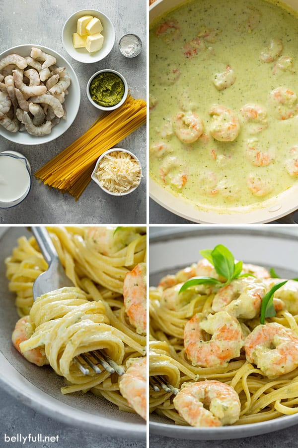 step by step process picture for creamy shrimp pesto pasta