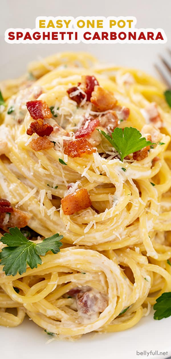 long pin for one pot spaghetti carbonara
