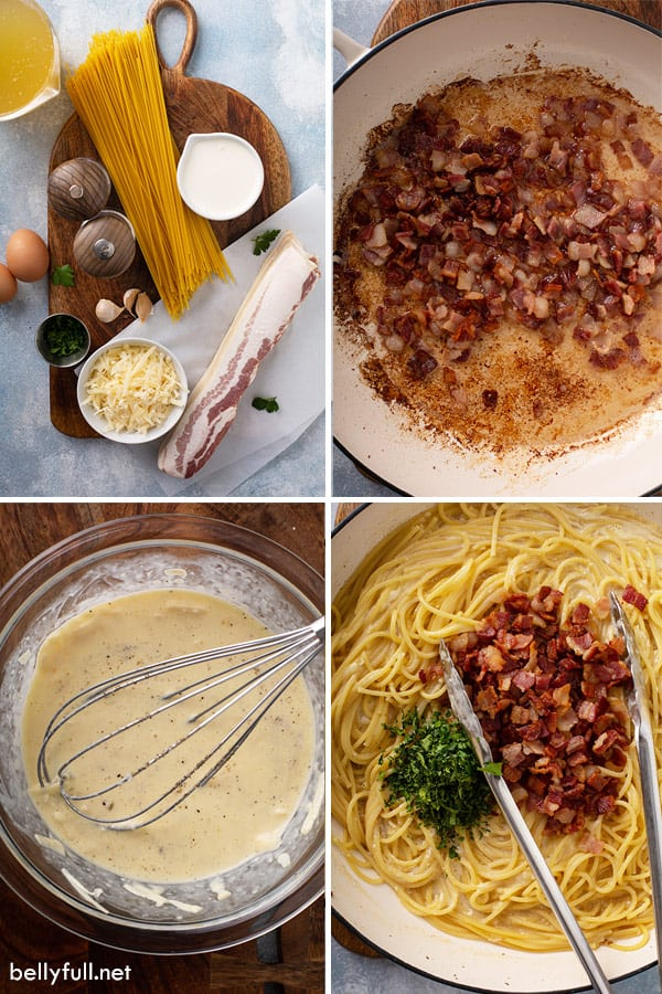 step by step process pictures of spaghetti carbonara
