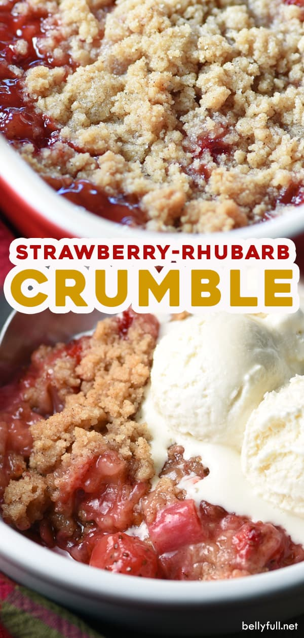 2 picture long pin for Strawberry Rhubarb Crumble