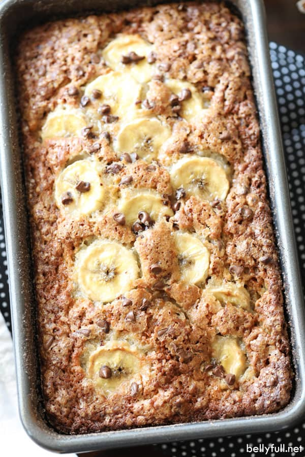 overhead picture of banana bread in loaf pan