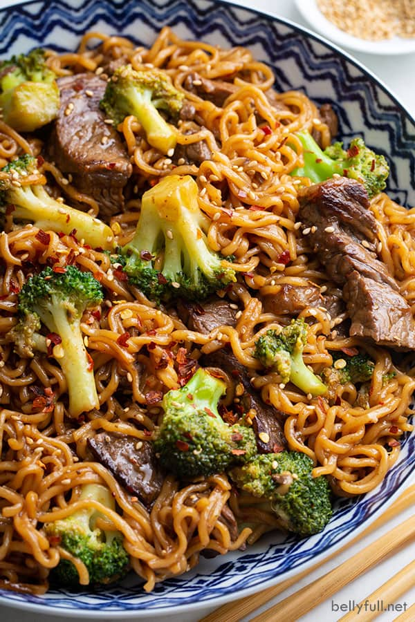homemade beef and broccoli ramen noodle stir fry in ornate bowl