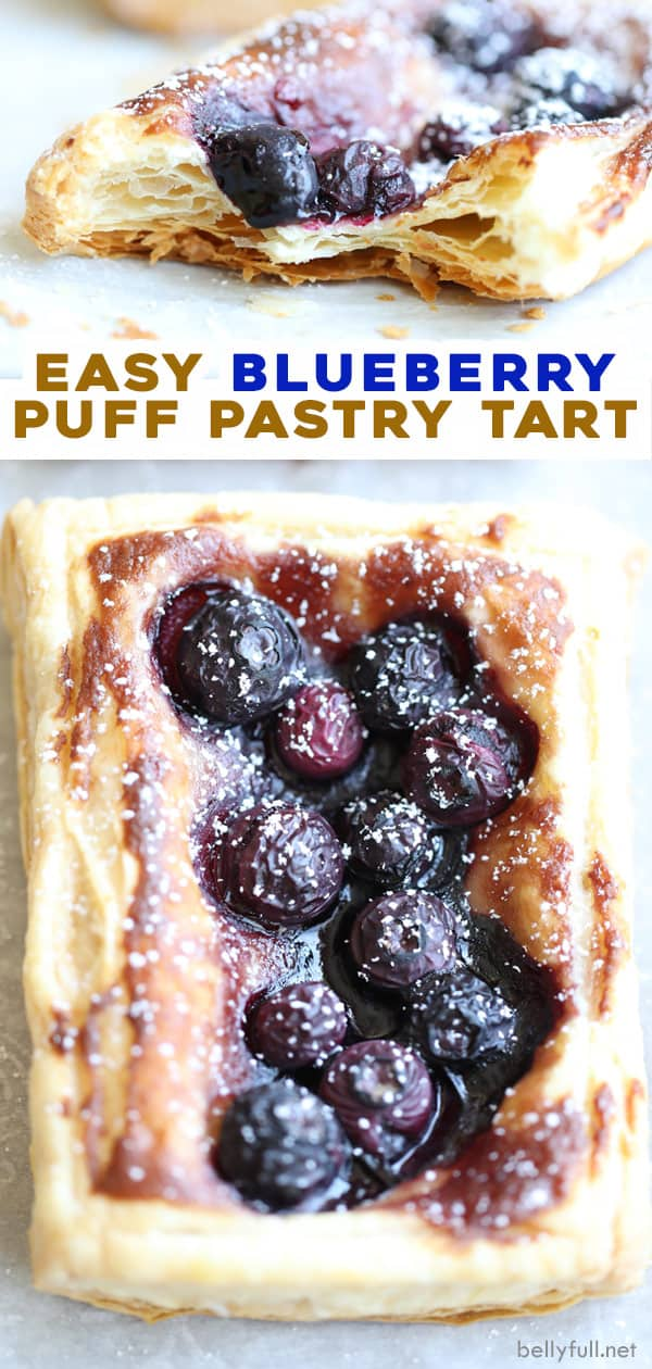 long pin for blueberry puff pastry tart