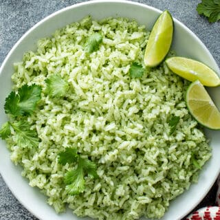 overhead picture of Cilantro Lime Rice in white serving bowl