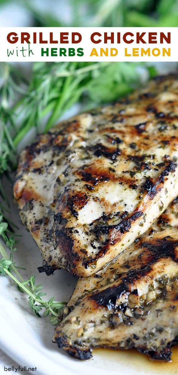 long pin for grilled chicken with herbs and lemon