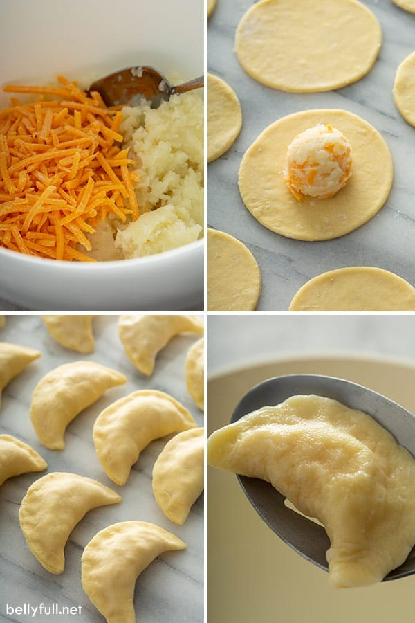 step by step process pictures for how to make Polish Pierogi