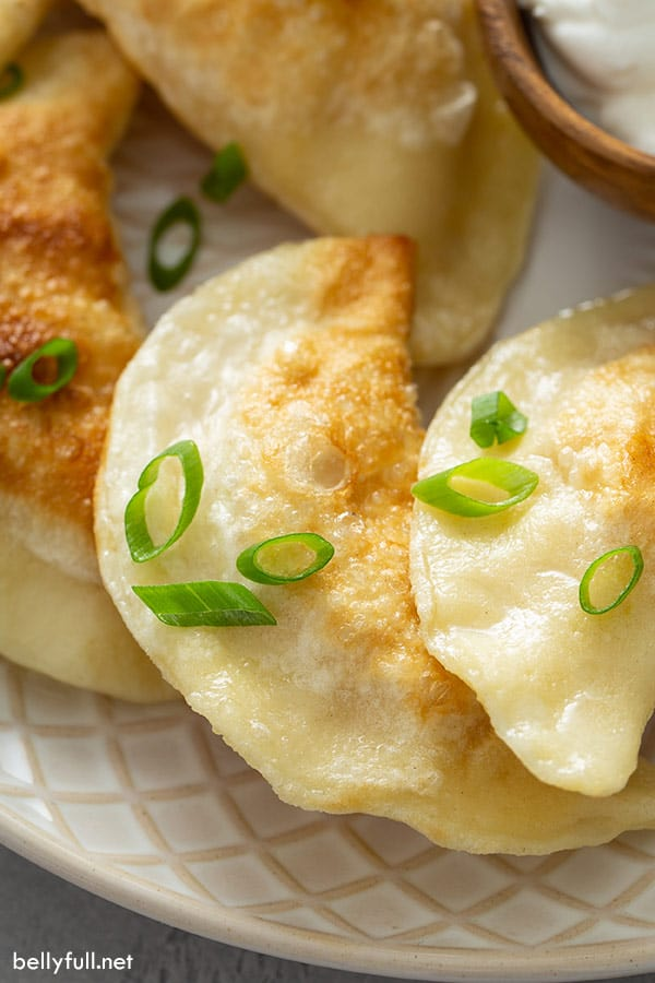 close up picture of homemade pan fried pierogi