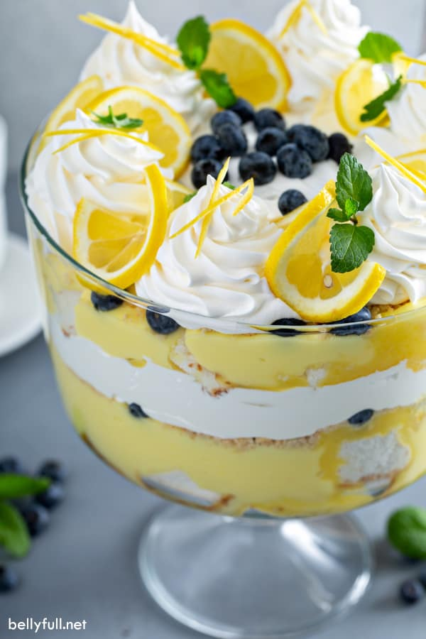 side angle picture of layered lemon trifle