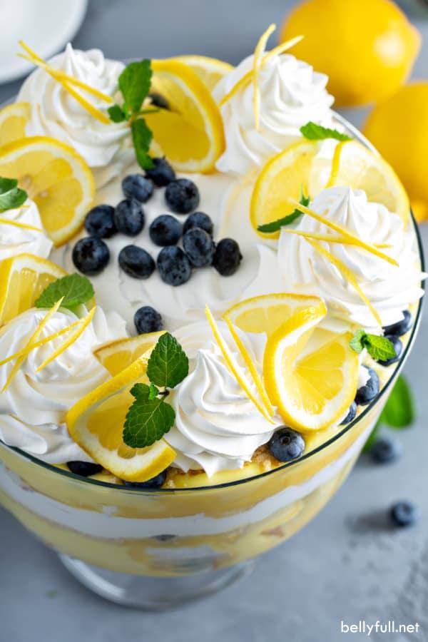 overhead picture of lemon trifle dessert recipe