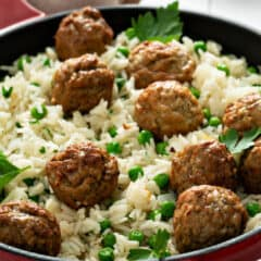 meatball and rice skillet with baby peas