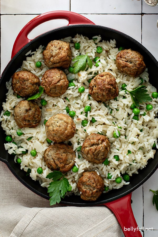 overhead picture of meatball and rice skillet
