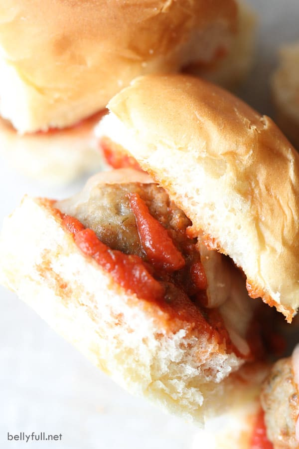 close up picture of meatball sliders