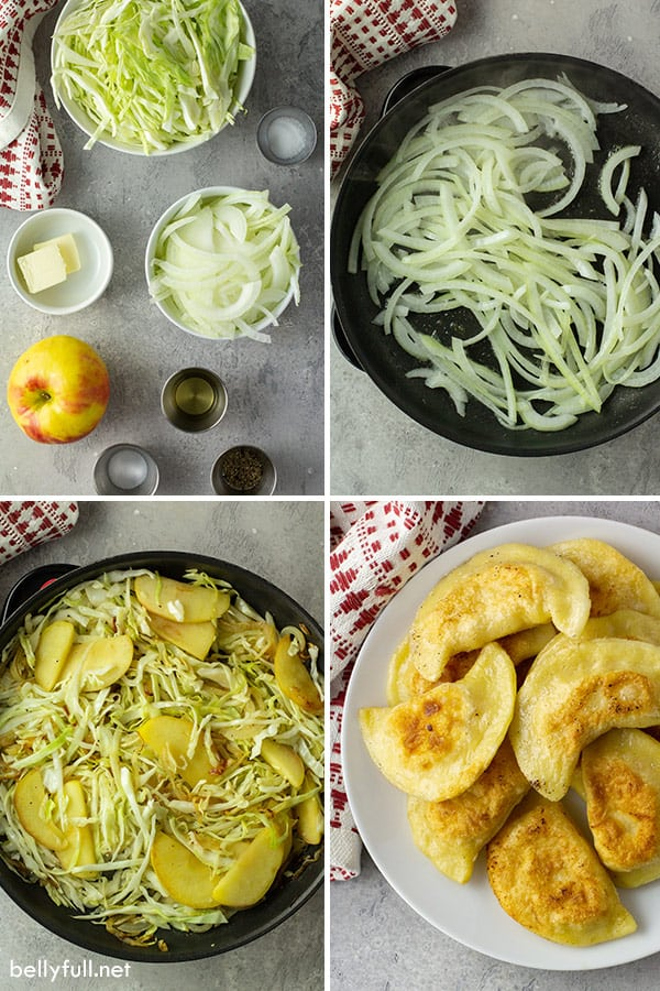 ingredient photos for pierogi recipe with cabbage and apples