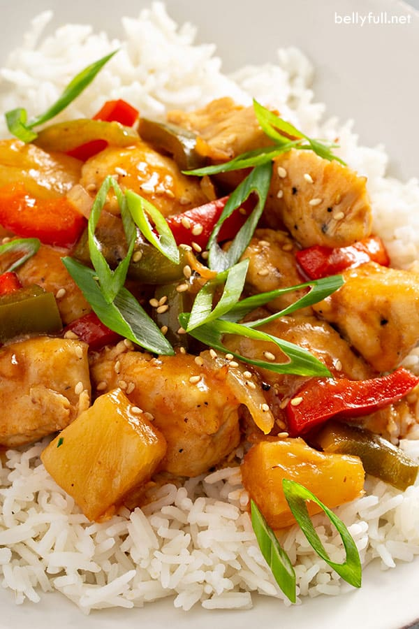 close up picture of homemade sweet and sour chicken recipe