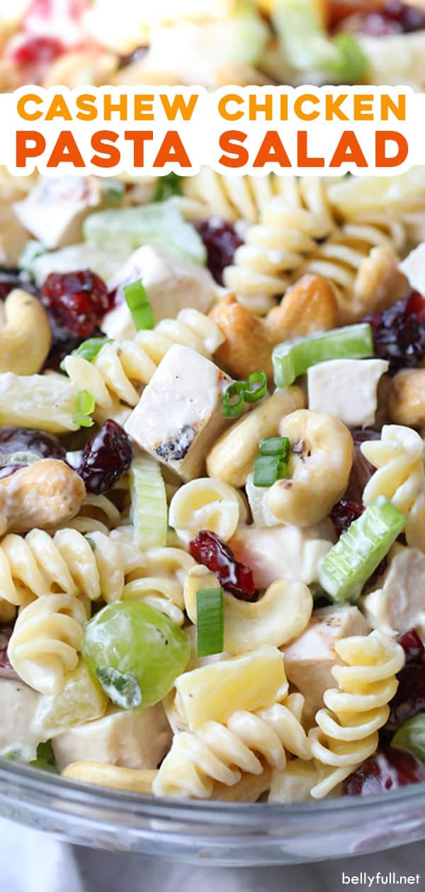 close up pin for cashew chicken pasta salad