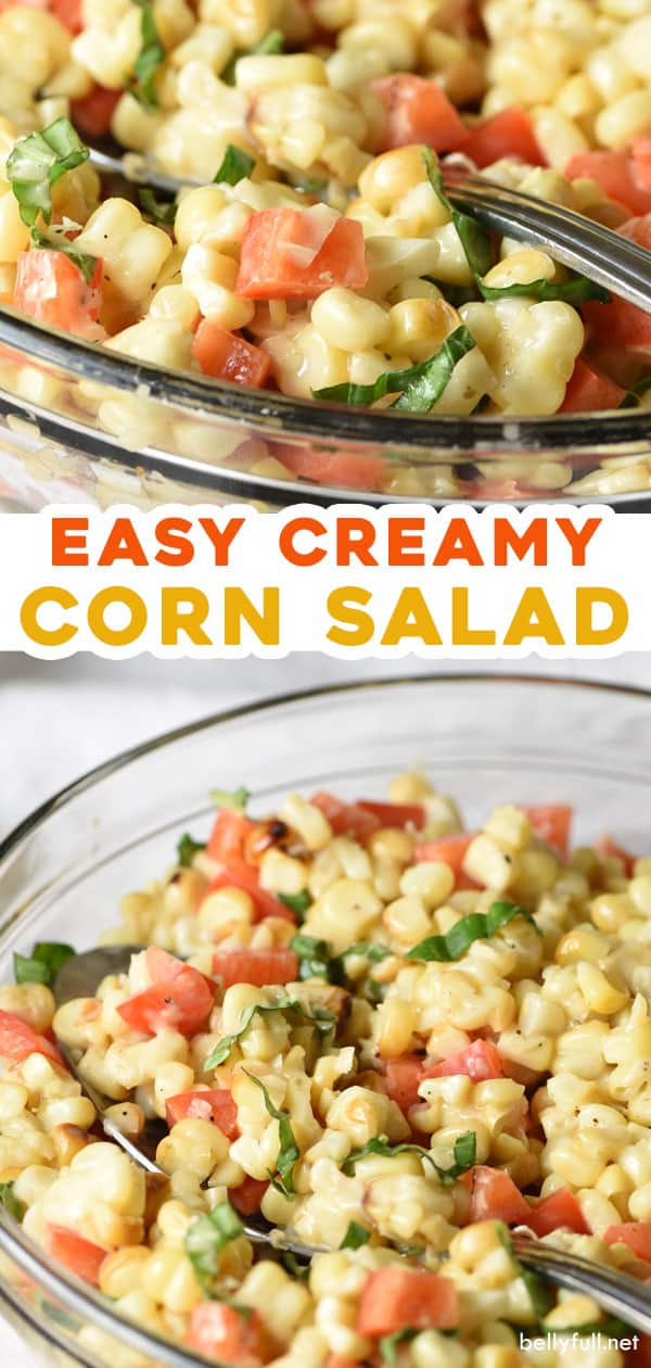 two picture pin for easy creamy corn salad