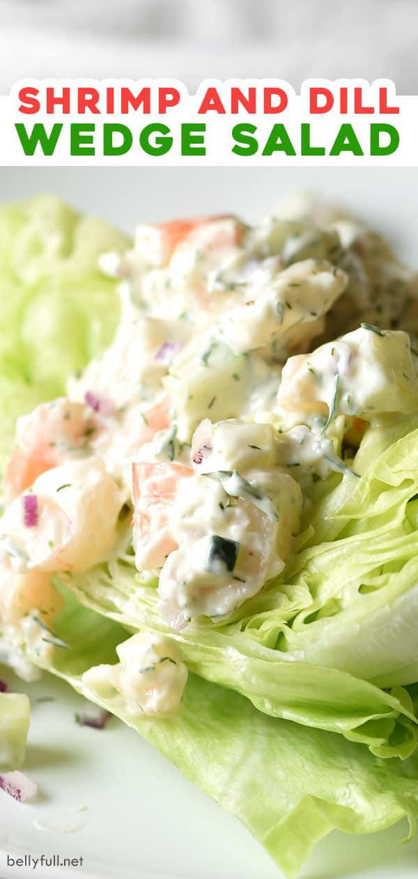 pin for shrimp and dill wedge salad recipe