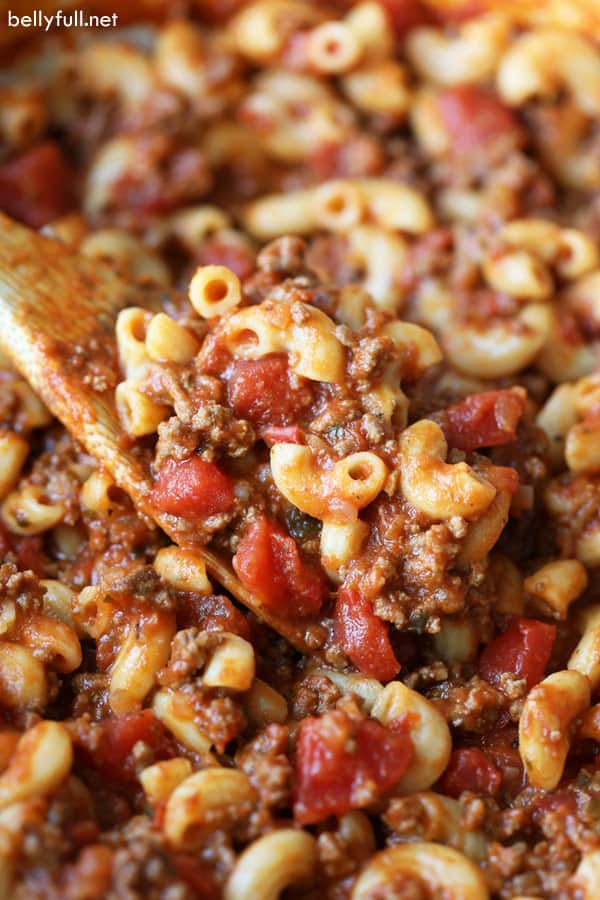American Goulash on wooden spoon