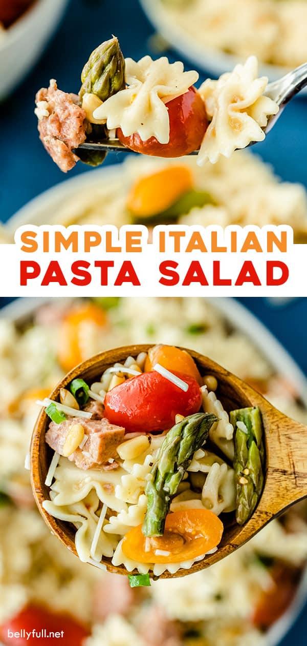 2 picture split pin for simple Italian Pasta Salad