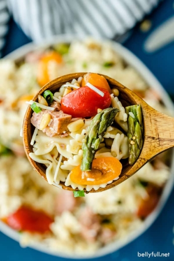 overhead close up picture of Italian Pasta Salad on wooden spoon