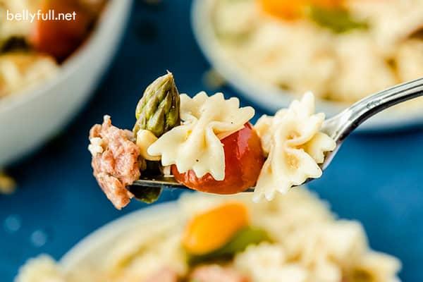portion of Italian Pasta Salad on fork