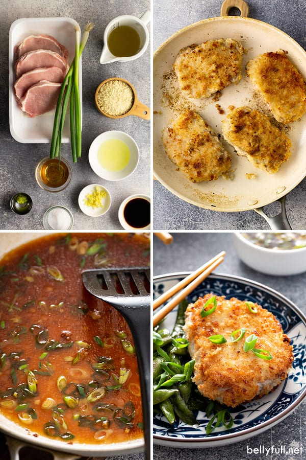 ingredients and process pictures for pan fried pork chops