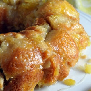 pina colada monkey bread on white tray