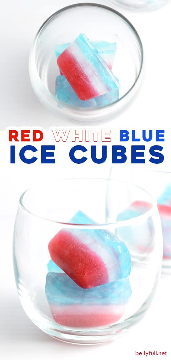 2 picture split pin for red white blue layered ice cubes