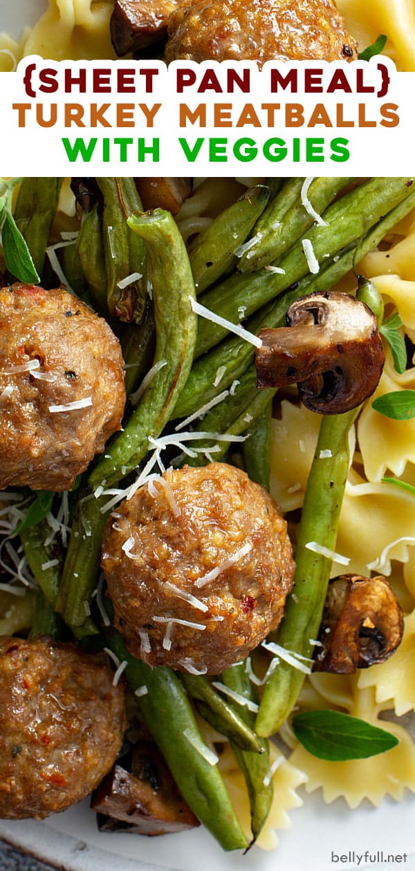 pin for turkey meatballs and vegetables sheet pan dinner