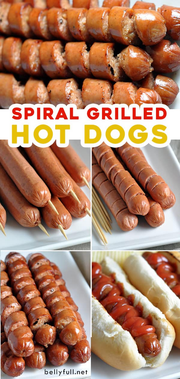 pin for spiral grilled hot dogs