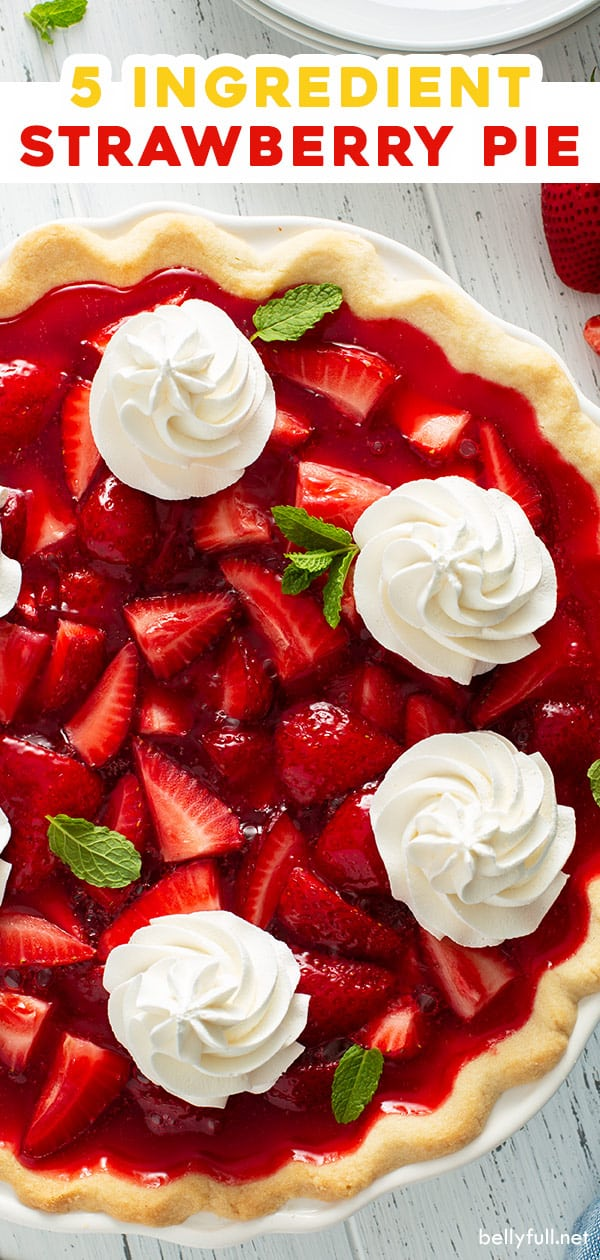 pin for 5 ingredient strawberry pie
