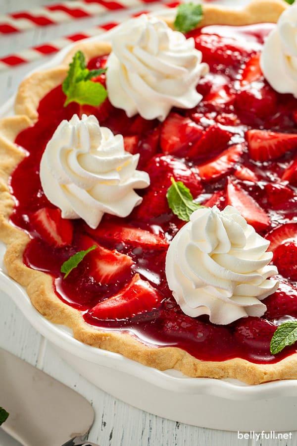 side angle of whole strawberry jello pie