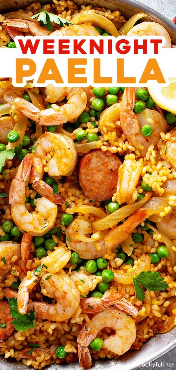 pin for chorizo and shrimp paella recipe