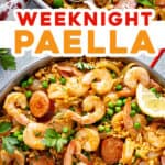 2 picture pin for weeknight paella