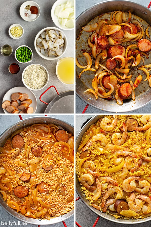 4 photos showing the ingredients and process for Spanish paella