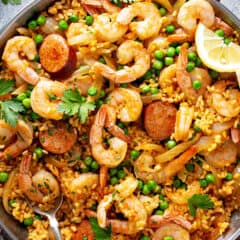 overhead picture for Spanish paella in paella pan with chorizo and shrimp