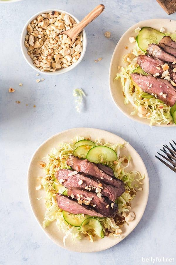 overhead of asian grilled steak salad
