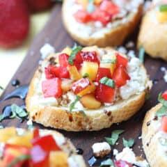 strawberry and nectarine bruschetta with goat cheese
