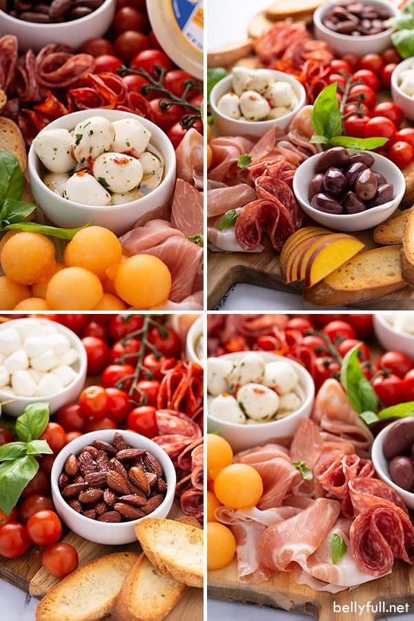 4 picture collage of ingredients for Italian Antipasto meat and cheese board